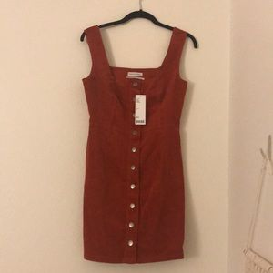 Button-Down Corduroy Overall Dress